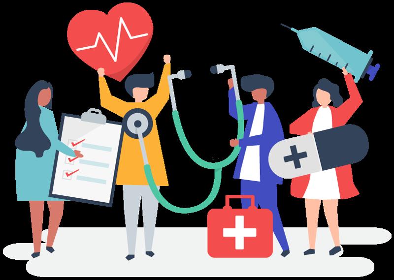 médecins généralistes, pharmaciens, diététiciens, kinésithérapeutes, sages-femmes, podologues, orthophonistes, infirmiers, dentistes, psychothérapeute, ostéopathe, sophrologue