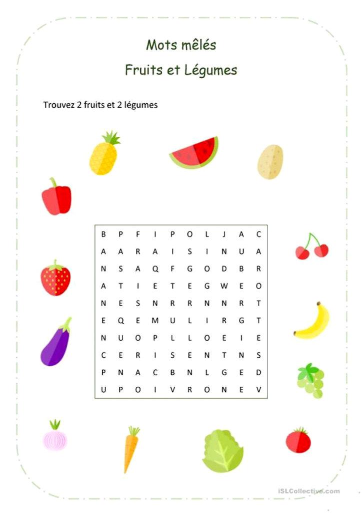 mots mêlés fruits et légumes