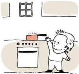 confinement, risques domestiques, enfant, cuisine